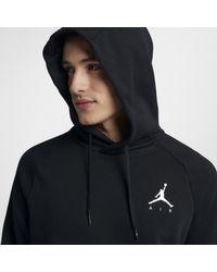 Felpa pullover in fleece con cappuccio Jordan Jumpman di Nike in Black da Uomo