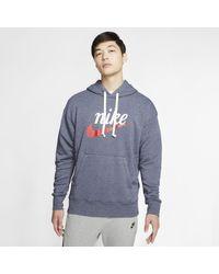 Felpa pullover con cappuccio e grafica Sportswear Heritage di Nike in Blue da Uomo