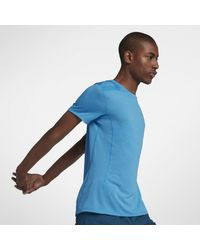 Nike Dri-FIT Miler Cool Kurzarm-Laufoberteil für in Blue für Herren