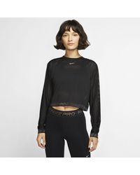 Nike Pro Long-sleeve Mesh Crop Top Black