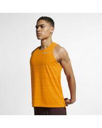 Nike Orange Dri-fit Miler Running Tank for men