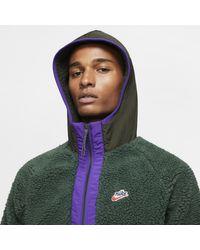 Nike Sportswear Sherpa-Hoodie mit Halbreißverschluss in Green für Herren