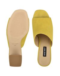 Nine West Yellow Yuna Heeled Slide Sandals
