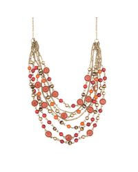 Nine West - Red Multi-strand Necklace - Lyst