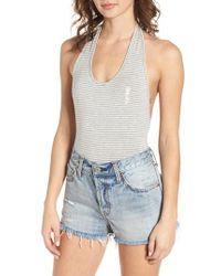 Obey Gray Luna Stripe Bodysuit