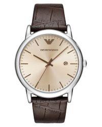 Emporio Armani - Brown Round Leather Strap Watch for Men - Lyst
