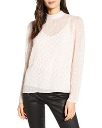 Chelsea28 Pink Metallic Clip Dot Blouse