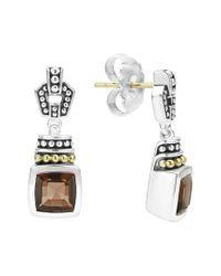 Lagos - Metallic 'caviar Color' Square Semiprecious Stone Drop Earrings - Lyst