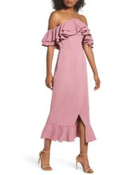 C/meo Collective - Pink Temptation Ruffle Off The Shoulder Dress - Lyst