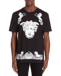 Versace Black Horse & Head Graphic T-shirt for men