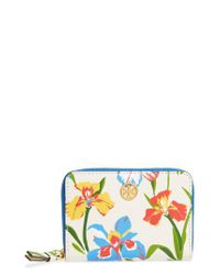 Tory Burch - Blue Robinson Iris Print Leather Coin Case - Lyst