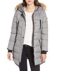 Guess - Gray Hooded Jacket With Faux Fur Trim - Lyst
