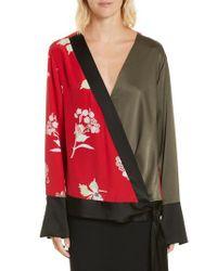 Diane von Furstenberg - Red Bell Sleeve Crossover Silk Blouse - Lyst