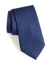 Calibrate   Blue Seedstitch Solid Cotton & Silk Tie for Men   Lyst
