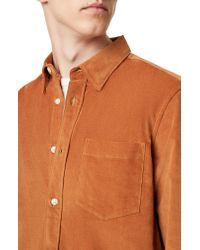 French Connection Brown Slim Fit Button-up Corduroy Shirt for men