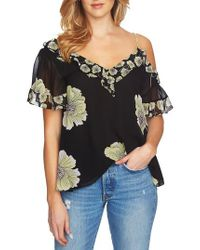 1.STATE Black Mixed Print Blouse