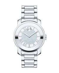 Movado Metallic 'bold' Crystal Dial Bracelet Watch