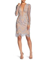 Dress the Population - Natural Jamie Lace Sheath Dress - Lyst