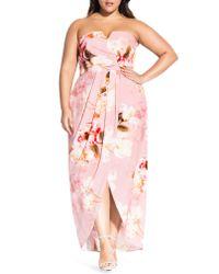 City Chic Pink English Rose Maxi Dress