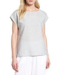 Eileen Fisher Multicolor Stripe Hemp & Organic Cotton Swing Top