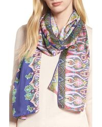 Echo - Blue Sea Fan Paisley Silk Scarf - Lyst
