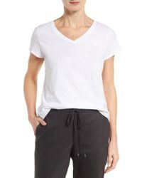Eileen Fisher - White Organic Cotton V-neck Tee - Lyst