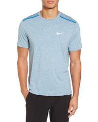 Nike Blue Dry Tailwind Short Sleeve Running T-shirt for men