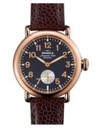 Shinola Blue 'the Runwell' Leather Strap Watch