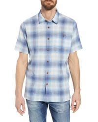Patagonia Blue 'a/c' Regular Fit Organic Cotton Short Sleeve Sport Shirt for men