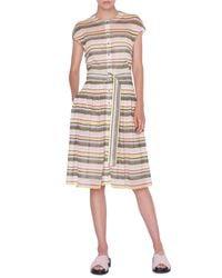 Akris Punto Multicolor Memphis Glass Striped Mesh Shirtdress