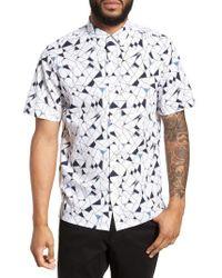 Theory - White Murrary Trim Fit Geometric Short Sleeve Sport Shirt for Men - Lyst