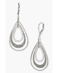 Judith Jack Metallic Orbital Triple Teardrop Hoop Earrings