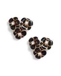 Kate Spade - Black Shine On Flower Cluster Stud Earrings - Lyst