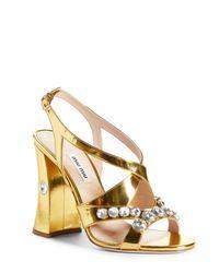 Miu Miu Metallic Rocchetto Embellished Block Heel Sandal