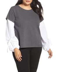Two By Vince Camuto   Gray Bubble Tie Sleeve Mix Media Pullover   Lyst