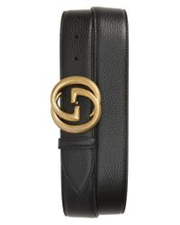 Gucci - Black Interlocking-g Calfskin Leather Belt for Men - Lyst