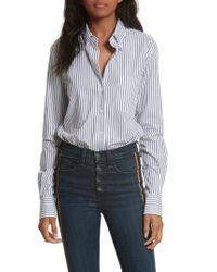 Veronica Beard - Blue Stripe Bodysuit - Lyst