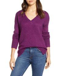 Caslon Purple Caslon V-neck Sweater