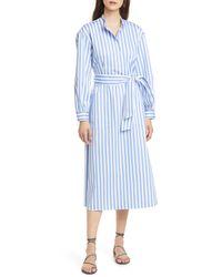 Club Monaco Blue Half Placket Long Sleeve Stripe Midi Dress