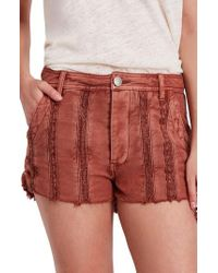 Free People - Red Great Expectations Lace Cutout Shorts - Lyst