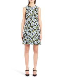 Dolce & Gabbana Blue Floral Jacquard Sleeveless Dress