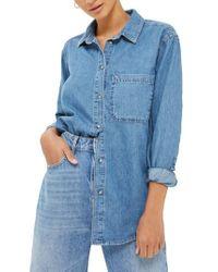 TOPSHOP - Blue Drake Oversize Denim Shirt - Lyst