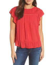 Velvet By Graham & Spencer - Red Challis Ruffled Blouse - Lyst