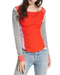 Free People | Red Fancy That Colorblock Tee | Lyst