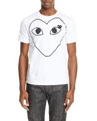 Comme des Garçons White Comme Des Garçons Play Heart Outline Graphic T-shirt for men