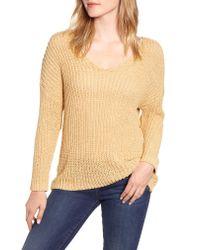 Velvet By Graham & Spencer Natural Textured Tape Yarn V-neck Sweater