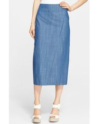 Tibi Blue Paneled Midi Skirt