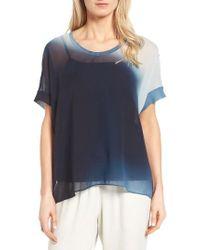 Eileen Fisher   Blue Ombre Silk Short Sleeve Top   Lyst