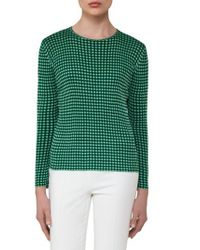 Akris Green Check Jacquard Knit Silk Top