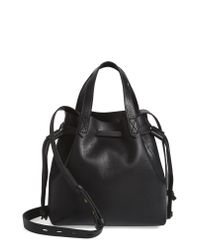 Madewell Black The Mini Pocket Transport Leather Drawstring Tote